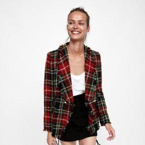 Zara Plaid Tweed Blazer Checkered